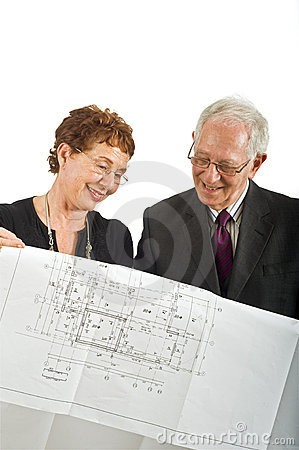 Senior couple and house plans