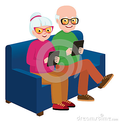 Senior couple husband and wife with a computer tablet Vector Illustration