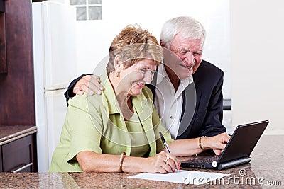 Senior couple internet banking