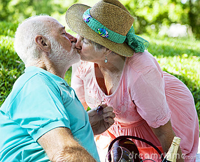 Senior Couple Kissing