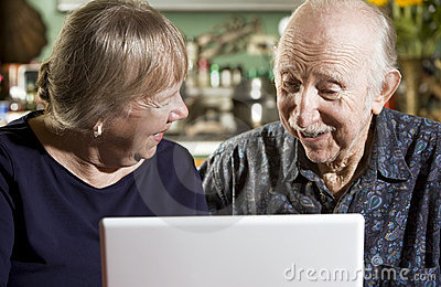 Senior Couple with a Laptop Computer
