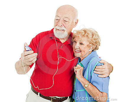Senior Couple Listening to MP3s