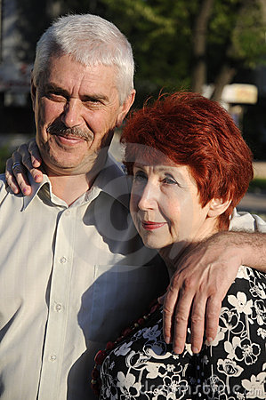 Free Senior Couple Outdoor. They Love Each Other. Stock Images - 5214994