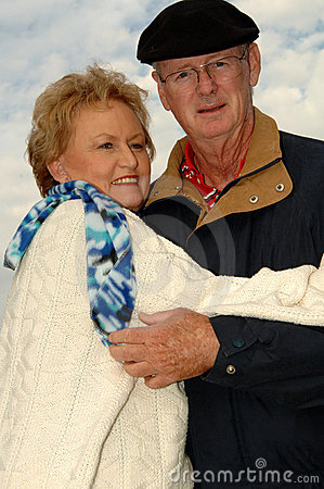 Senior couple outdoors winter