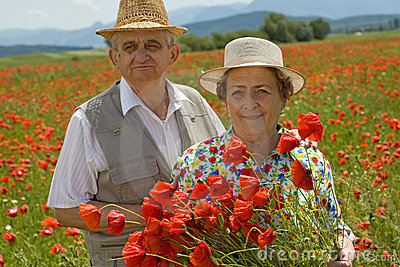 Senior couple picking flowers on a poppy field
