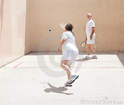 Senior Couple Playing Racquetball