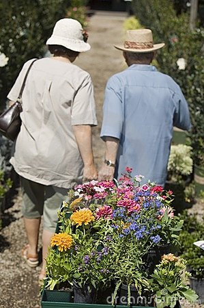 Senior Couple pulling cart of flowers