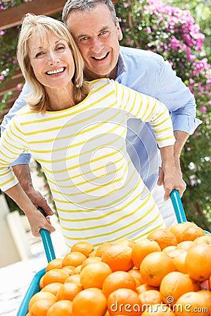 Senior Couple Pushing Wheelbarrow