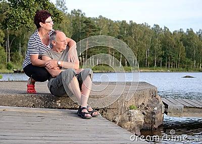 Senior couple relaxing outdoor