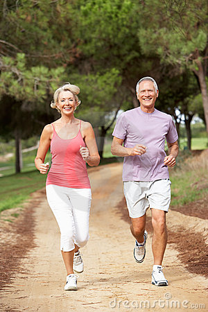 Senior Couple Running In Park Royalty Free Stock Photos - Image: 16823918