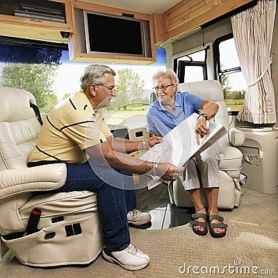 Senior couple in RV.
