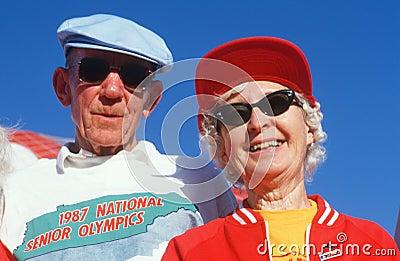 A senior couple at the Senior Olympics Editorial Photo