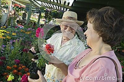 Senior Couple Shopping for flowers