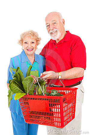 Senior Couple Shops Healthy