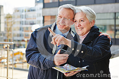 Senior couple on sightseeing tour