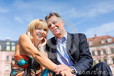 Senior couple during spring in the city