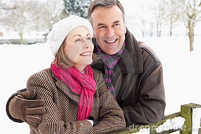Senior Couple Standing Outside In Snowy Landscape
