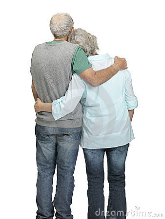 Senior couple standing together - Rear view