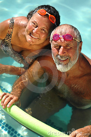 Free Senior Couple Swimming Together Stock Image - 2684121