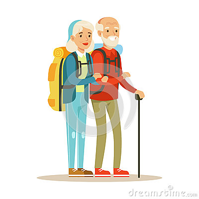 Senior couple tourists traveling with backpacks. People traveling colorful cartoon character vector Illustration Vector Illustration