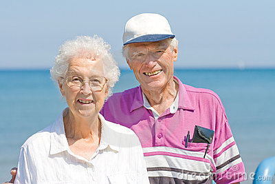 Senior couple on vacation.