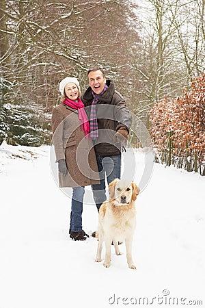 Free Senior Couple Walking Dog Through Snowy Woodland Royalty Free Stock Photography - 12988547