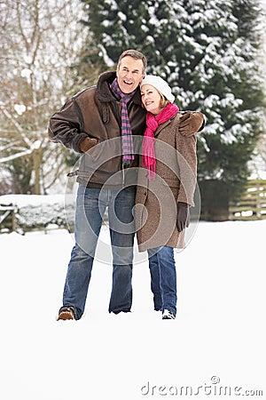 Senior Couple Walking In Snowy Landscape