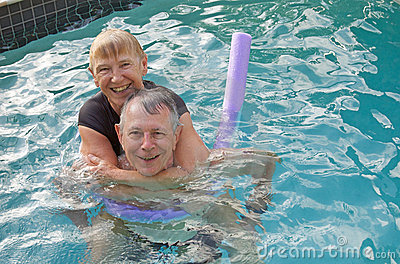 Senior couple water fun