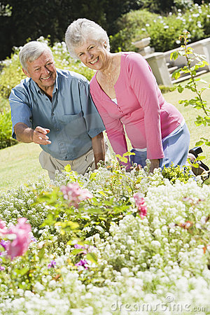 Senior couple working in garden