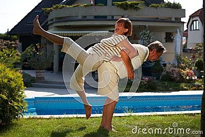 Senior couple workout