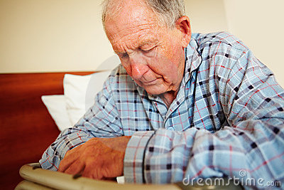 Senior depressed man , health related issues