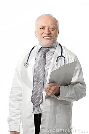 Senior doctor laughing to camera