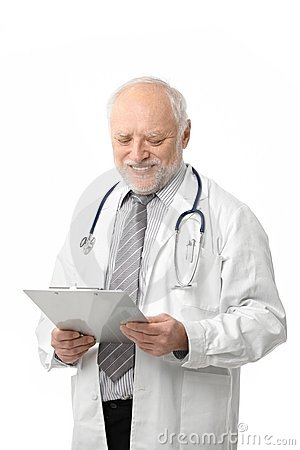 Senior doctor looking at papers smiling