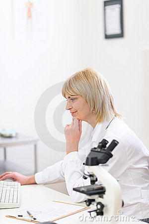 Senior doctor woman working at laboratory