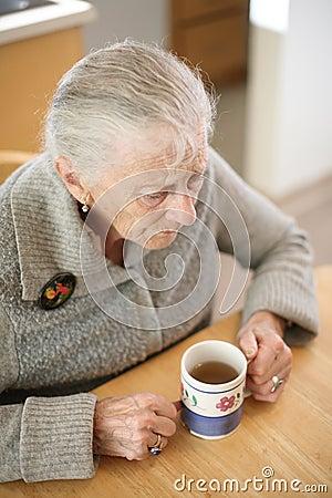 Senior drinking tea