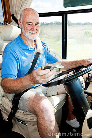 Senior Driver Using GPS