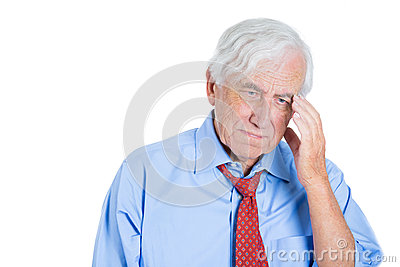 Senior elderly mature man with white hair really sad and in deep thought