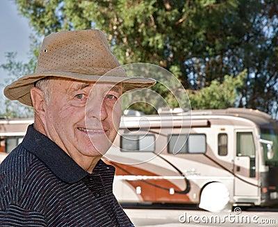 Senior Enjoying Retirement with his RV