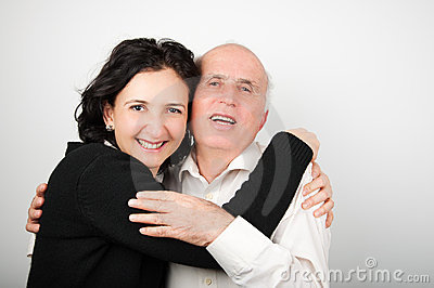 Senior father and his daughter in black and white