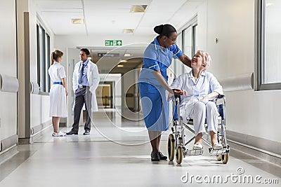 Senior Female Patient in Wheelchair & Nurse in Hospital