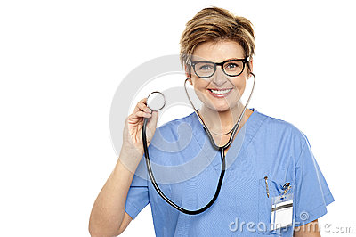 Senior female physician ready to examine you