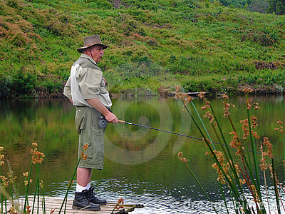 Senior fisherman fly-fishing