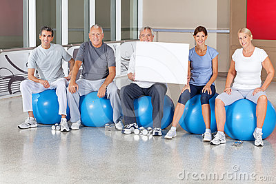 Senior fitness group in gym