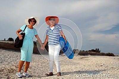 Senior friends beach vacation