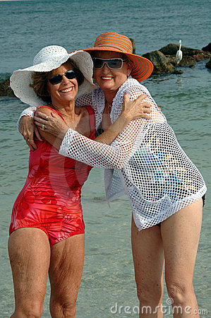 Free Senior Friends Beach Vacation Stock Image - 2588651