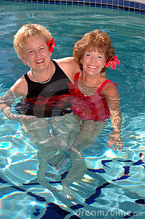 Senior friends in the pool