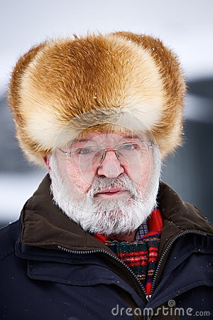 Senior in fur hat