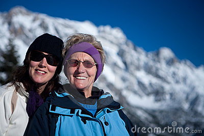 Senior and girl in snow