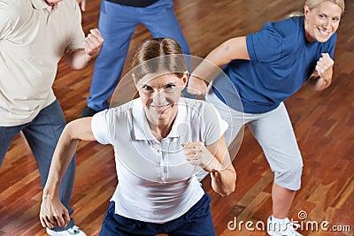 Senior group dancing in fitness