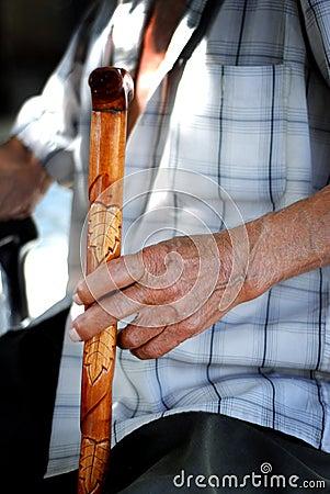 Senior hand on cane